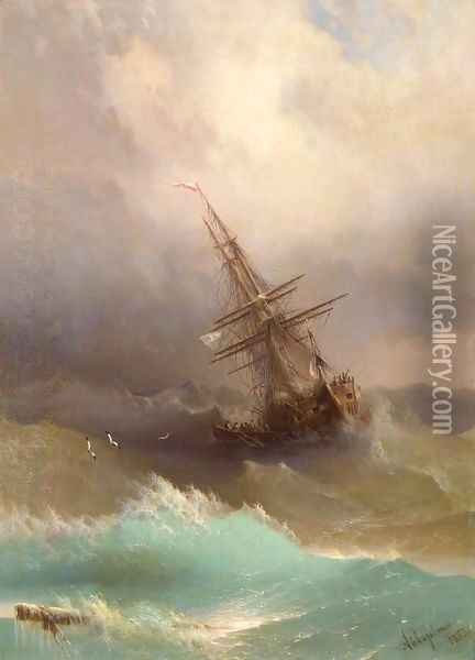 Ship in the Stormy Sea Oil Painting - Ivan Konstantinovich Aivazovsky
