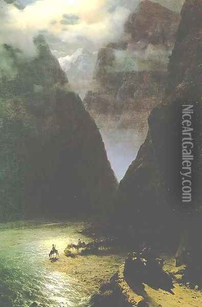 The Daryal canyon Oil Painting - Ivan Konstantinovich Aivazovsky