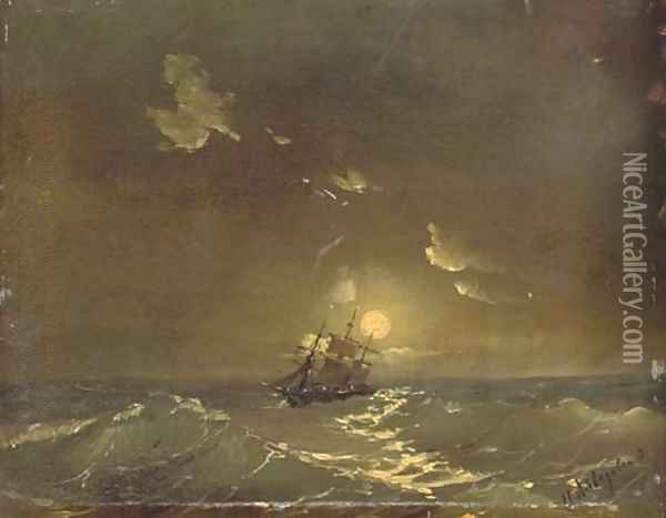 A ship in moonlit waters Oil Painting - Ivan Konstantinovich Aivazovsky