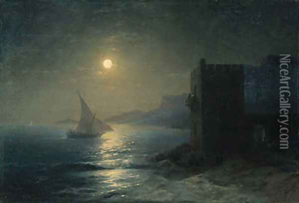 Coastal Fortress with Felucca by Moonlight Oil Painting - Ivan Konstantinovich Aivazovsky