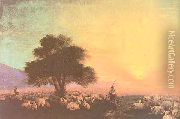 Flock of sheep with herdsmen sunset Oil Painting - Ivan Konstantinovich Aivazovsky
