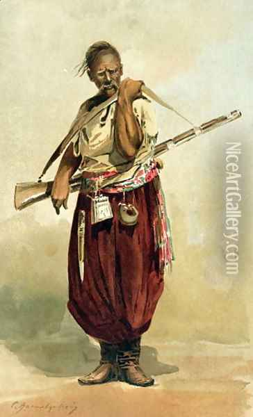 17th century Zaporogue Cossack, late 19th century Oil Painting - Anonymous Artist