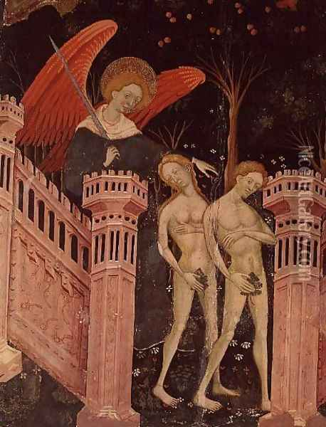Adam and Eve banished from Paradise (14th century) Oil Painting - Anonymous Artist
