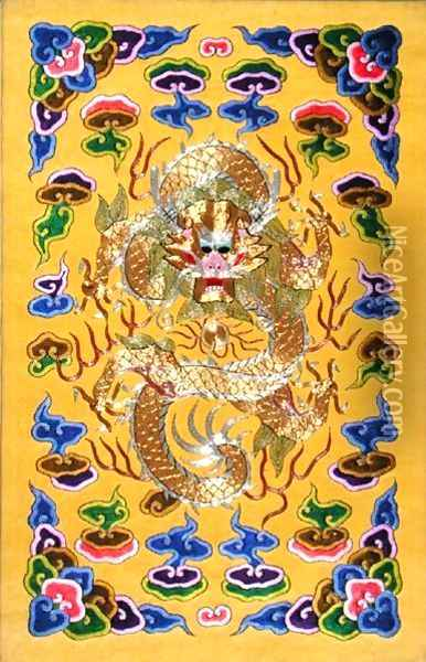 An Embroidered Chinese Dragon, from the front cover of a Franco-Chinese diplomatic treaty Oil Painting - Anonymous Artist