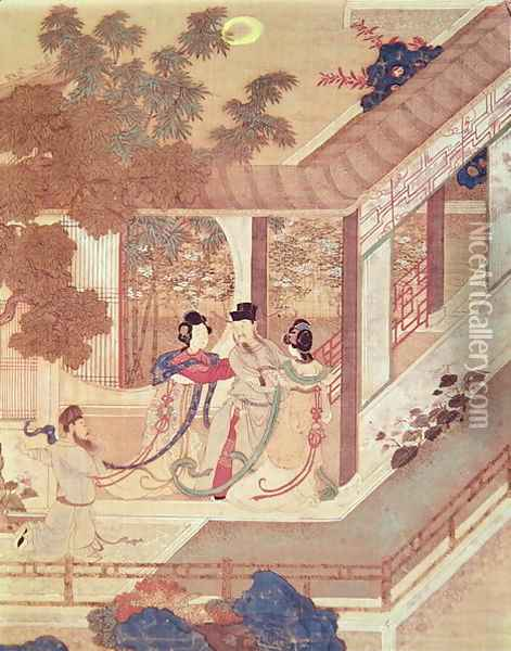 A romantic meeting, illustration from a traditional Chinese novel Oil Painting - Anonymous Artist