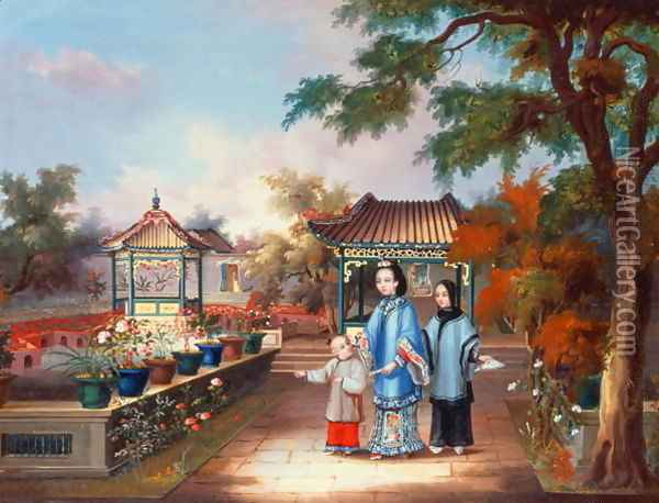 A mother with her children in a chinese garden, c.1850 Oil Painting - Anonymous Artist
