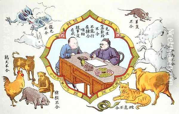 Fortune telling scene and signs of the Chinese zodiac, reproduced in 'Recherche sur les superstitions en Chine', 1911 Oil Painting - Anonymous Artist