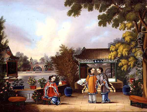 A Hong merchant's garden, Canton, with three Chinese ladies, c.1850 Oil Painting - Anonymous Artist