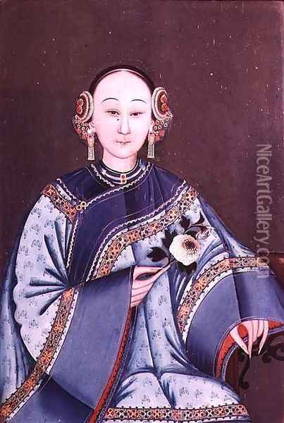 Chinese woman in traditional costume holding a single flower Oil Painting - Anonymous Artist