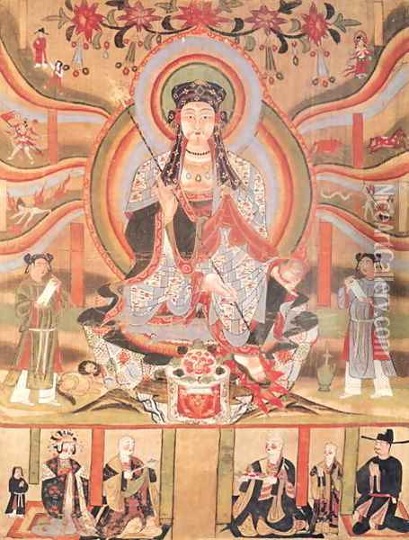Buddhist banner depicting Dizang and the Six Roads to Rebirth, from Dunhuang Oil Painting - Anonymous Artist