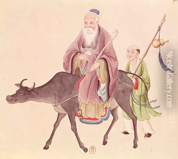 Lao-Tzu (c.604-531) on his buffalo, followed by a disciple Oil Painting - Anonymous Artist