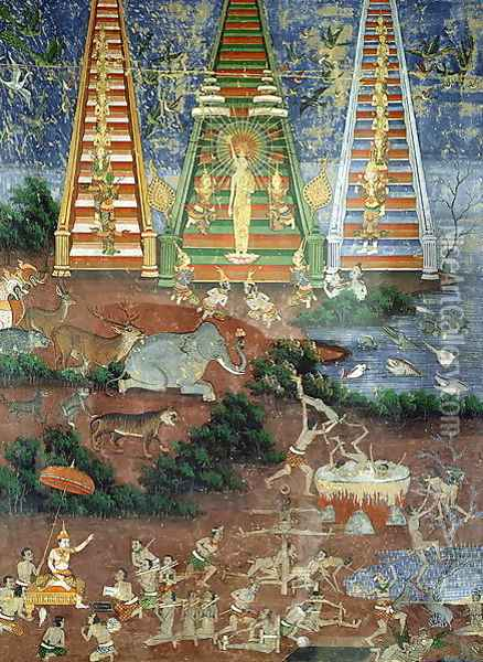 Buddha Descending from the Heaven of Thirty Three Gods Oil Painting - Anonymous Artist