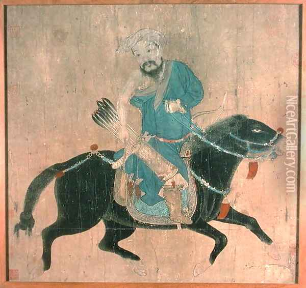 Mongol archer on horseback, from seals of the Emperor Ch'ien Lung and others, 15th-16th century Oil Painting - Anonymous Artist