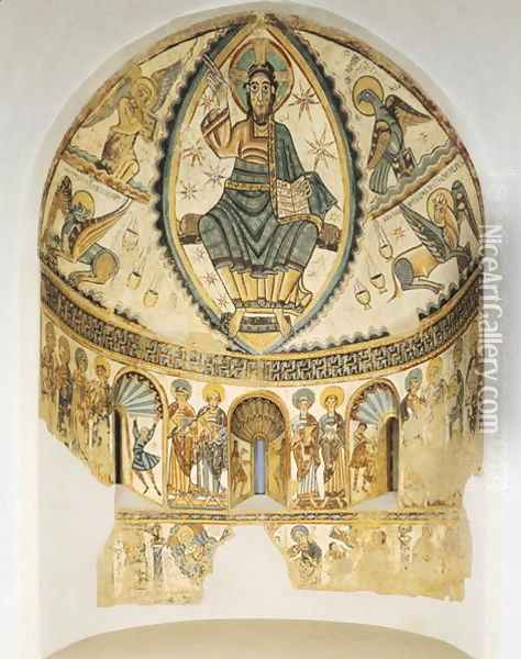 Christ in Majesty with Symbols of the Four Evangelists, 1150-1200 Oil Painting - Anonymous Artist