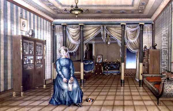 A Spinster in a Neo-Classical Sitting Room Interior, c.1835 Oil Painting - Anonymous Artist