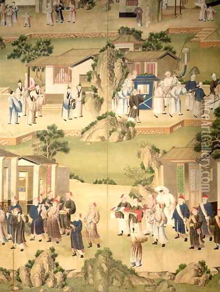 Detail of wallpaper depicting a funeral procession, 1780 Oil Painting - Anonymous Artist