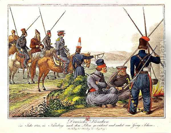 Don Cossacks in 1814 Oil Painting - Anonymous Artist