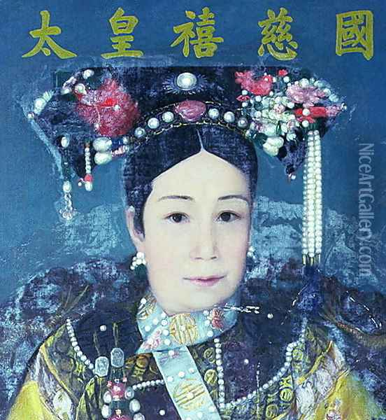 Portrait of the Empress Dowager Cixi (1835-1908) Oil Painting - Anonymous Artist