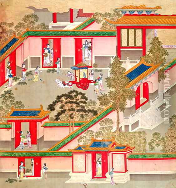 Emperor Wu Ti (156-87, r.141-87 BC), leaving his palace, from a history of Chinese emperors Oil Painting - Anonymous Artist