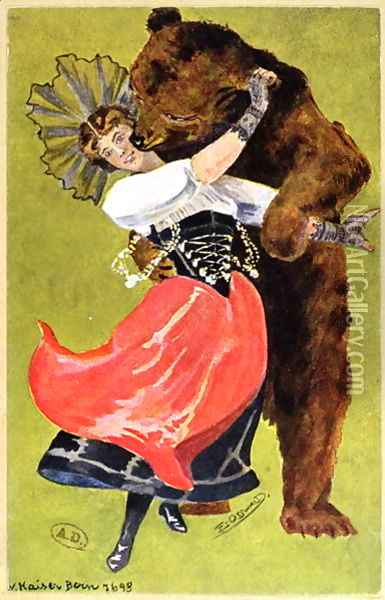 Postcard from Bern depicting a woman and a bear, c.1900 Oil Painting - Anonymous Artist