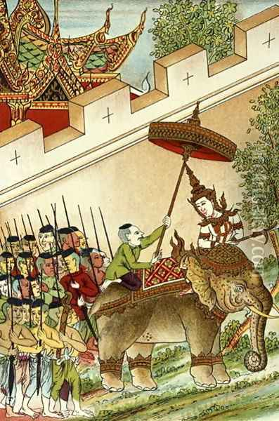 Vey Vonsga Mounting his Elephant Whilst his Army Wait, illustration from the Cambodian Legend of 'Vorvong and Saurivong', collected by Auguste Pavie on his Mission in Indo-China, 1879-95 Oil Painting - Anonymous Artist