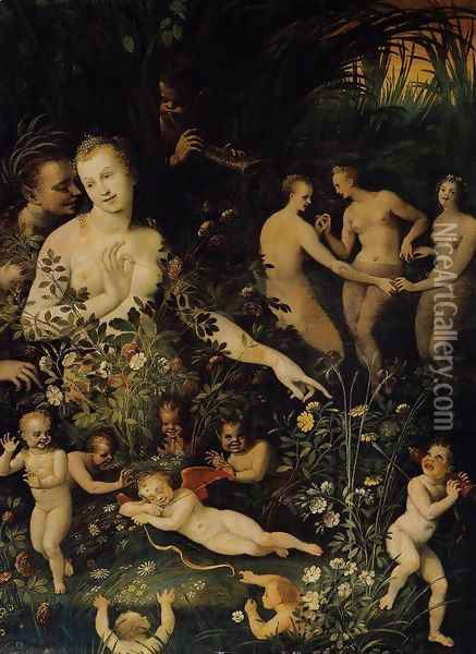 Mythological Allegory c. 1580 Oil Painting - Anonymous Artist