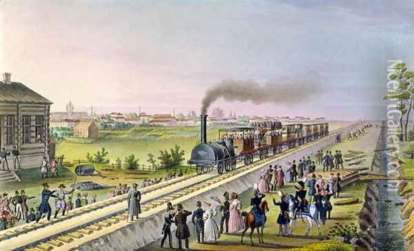 Opening of the First Railway Line from Tsarskoe Selo to Pavlovsk in 1837 Oil Painting - Anonymous Artist