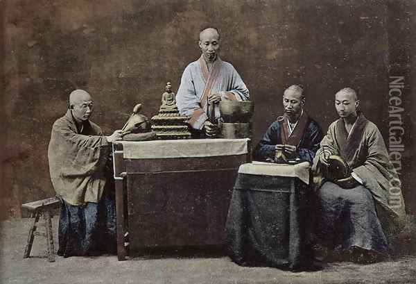 A group of Chinese bonzes Oil Painting - Anonymous Artist