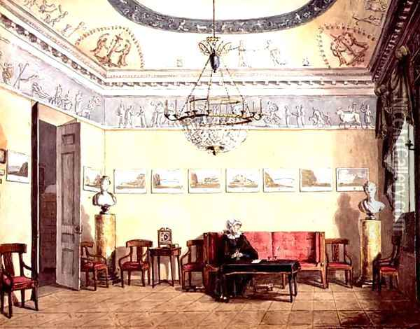 Neo-Classical Sitting Room, 1820 Oil Painting - Anonymous Artist