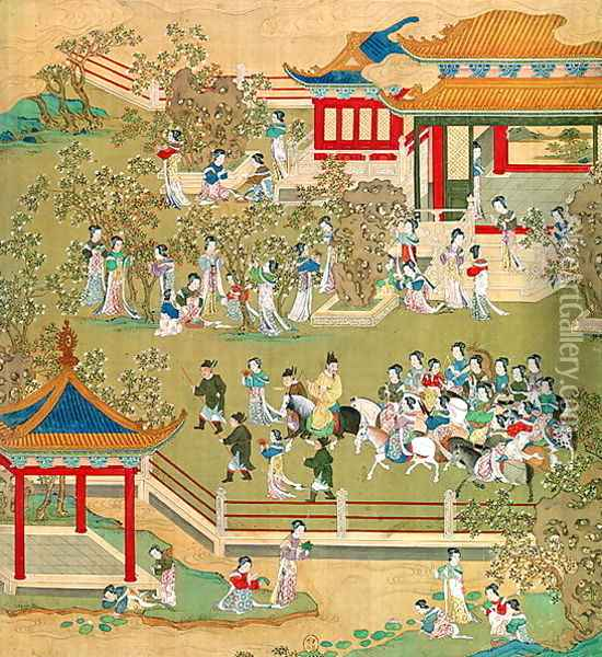 Emperor Yang Ti (581-618) strolling in his gardens with his wives, from a history of Chinese emperors 2 Oil Painting - Anonymous Artist