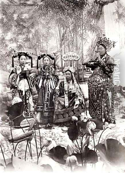 Portrait of Tz'U-Hsi (1835-1908) Empress Dowager of China accompanied by two maids of honour and a guard Oil Painting - Anonymous Artist