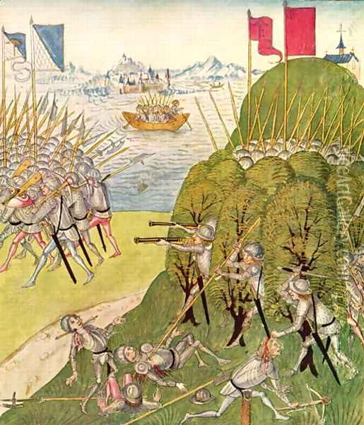 Soldiers armed with guns, lances and crossbows, from the Berner Chronik, by Diebold Schilling the Elder c.1445-85 1483 Oil Painting - Anonymous Artist