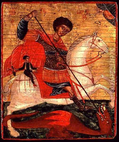 Icon of St. George and the Dragon Oil Painting - Anonymous Artist