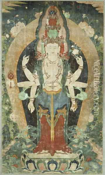 Eleven-Faced, Eight-Armed Avalokiteshvara Oil Painting - Anonymous Artist