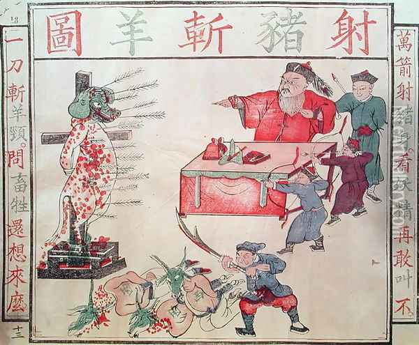 'Je Su, the Pig, is put to death', propaganda against the foreigners Oil Painting - Anonymous Artist