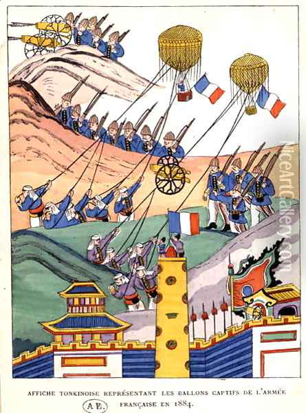 Poster showing the French troops using captured balloons at the time of the conquest of Tonkin, 1884 Oil Painting - Anonymous Artist