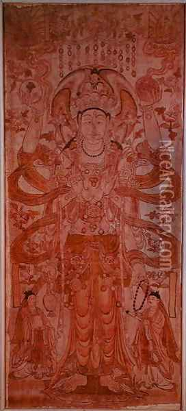 Avalokiteshvara with nine heads and six arms, from Dunhuang, Gansu Province, Tang Dynasty (618-907) Oil Painting - Anonymous Artist