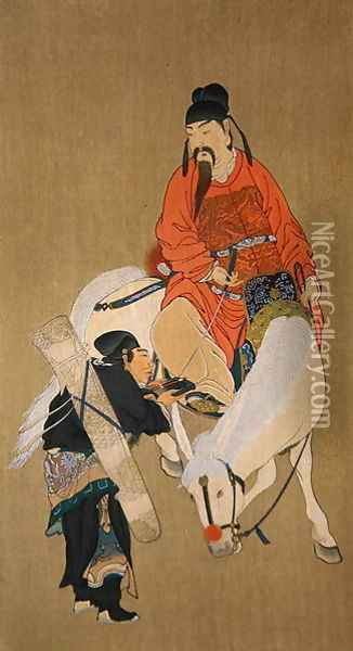 Wen Cheng Hsing, god of luck, illustration published in 'The Kokka' magazine, Japan, 1900-01 Oil Painting - Anonymous Artist