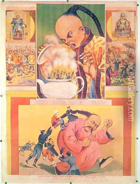 Comic Russian poster satirizing the Europeans in China, printed in Moscow, Russia, 1900 Oil Painting - Anonymous Artist