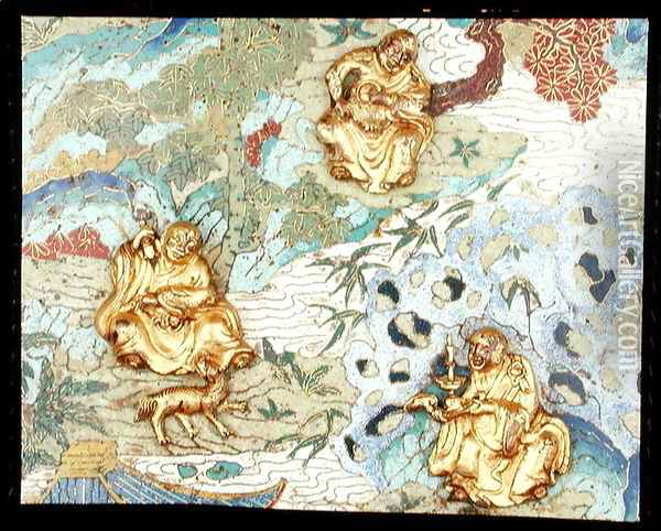 Detail from a pair of plaques depicting buddhist figures in a landscape, Qianlong period, 1736-95 Oil Painting - Anonymous Artist