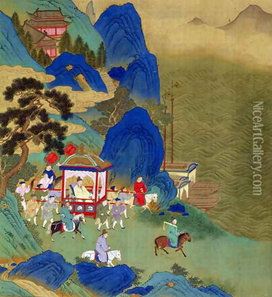 Emperor Ch'in Wang Ti (221-206 BC) travelling in a palanquin, from a history of Chinese emperors Oil Painting - Anonymous Artist