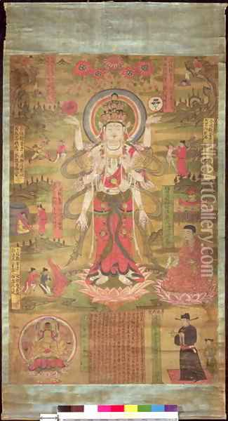 Banner representing the eleven-headed Guanyin standing in a landscape, Northern Sung period, 985 Oil Painting - Anonymous Artist