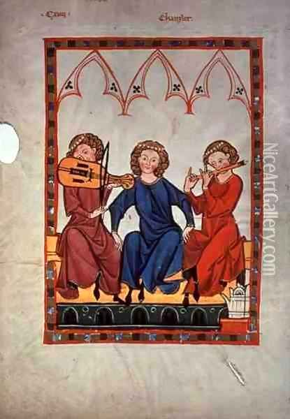 Musicians, from the Manasse Codex, a collection of courtly love songs, c.1300-20 Oil Painting - Anonymous Artist