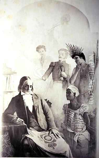 Founder of the Brazilian Country, 7th September 1822 - An Allegory representing the three races- the African slave, the Portuguese and the native Indian with Jose Bonifacio Oil Painting - Anonymous Artist