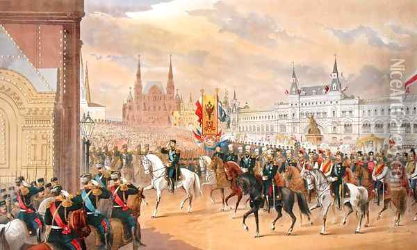 Marriage of Tsar Nicholas to Alexandra, Moscow, 1896 Oil Painting - Anonymous Artist