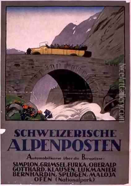 Advertisement for Swiss Alpine Motor Rides Oil Painting - Anonymous Artist