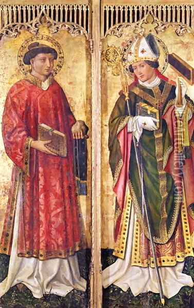 St. Stephen and St. Blaise, from the Altarpiece of Pierre Rup, c.1450 Oil Painting - Anonymous Artist