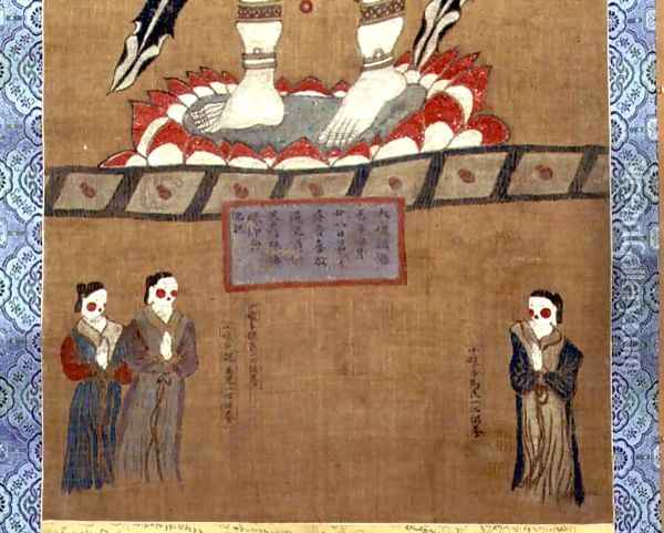 Female figures making offerings to Avalokitesvara (Guanyin) (detail from a hanging scroll from the Dunhuang Caves, 664 AD) Oil Painting - Anonymous Artist