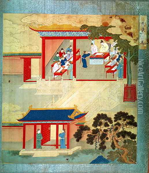Civil Service Exam Under Emperor Jen Tsung (fl.1022) from a history of Chinese emperors Oil Painting - Anonymous Artist