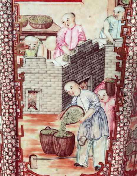 Detail from a vase depicting drying tea Oil Painting - Anonymous Artist